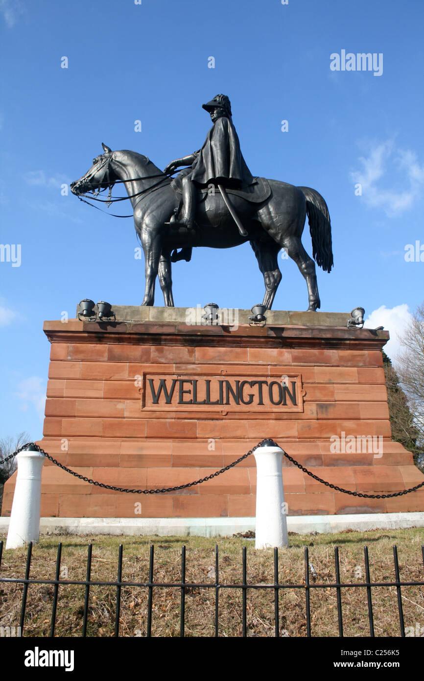Statue of the Duke of Wellington, Aldershot, Hampshire, England - Stock Image