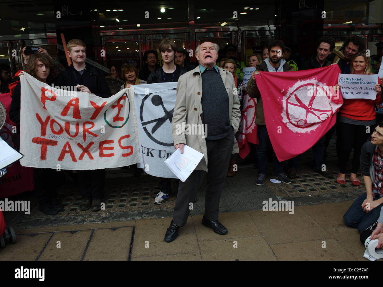UK Uncut, the anti-cuts direct action group, Oxford Street, London 2011 - Stock Image