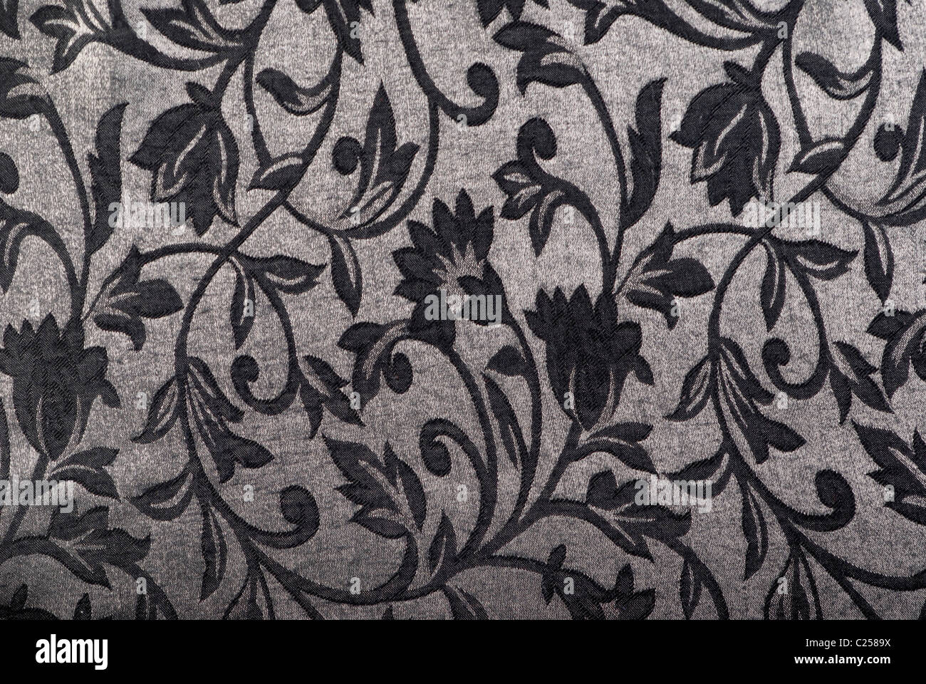 Silver / gray tapestry fabric. - Stock Image