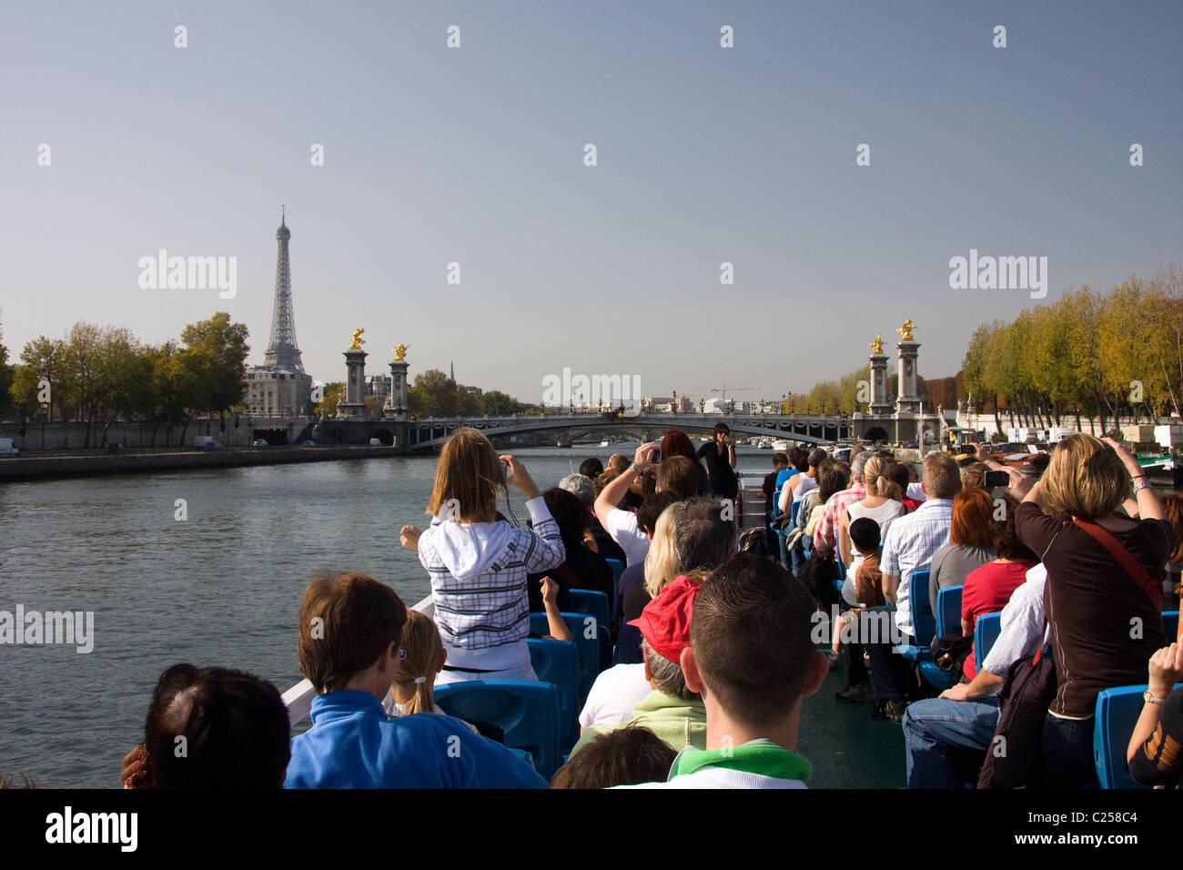 Boat cruise on River Seine, Paris - Stock Image