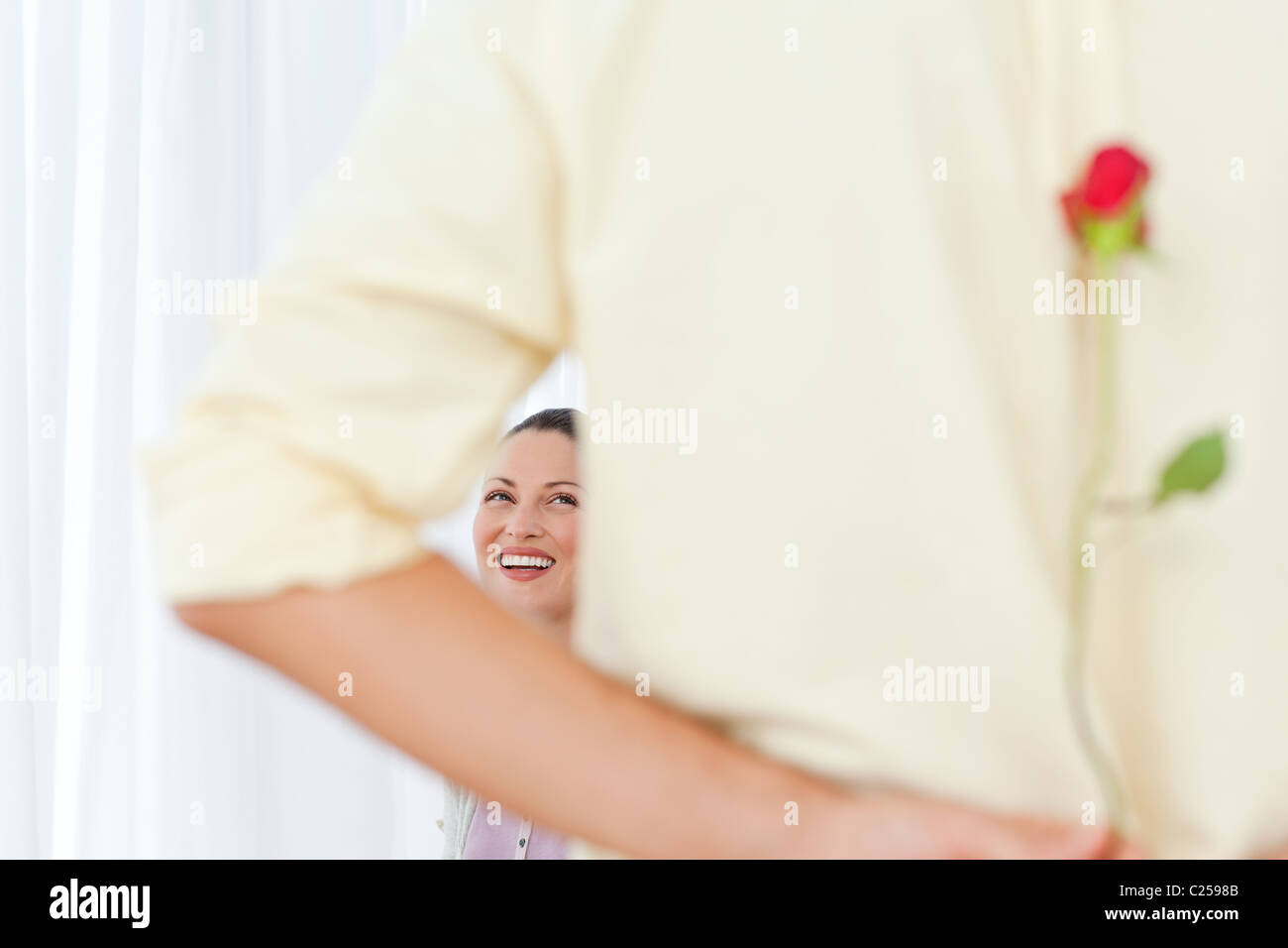 Rear view of a man hiding a rose for his girlfriend - Stock Image