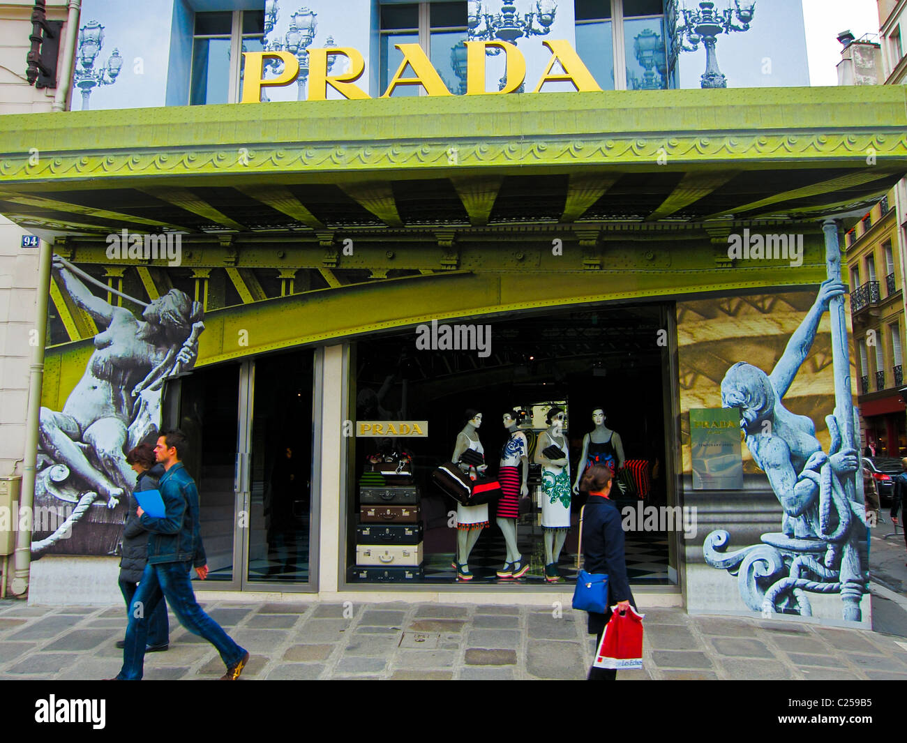Paris, France, Prada Store, Luxury Fashion Brands, Clothing Shop Window Front (Temporary Store, on Rue St Honore) Stock Photo