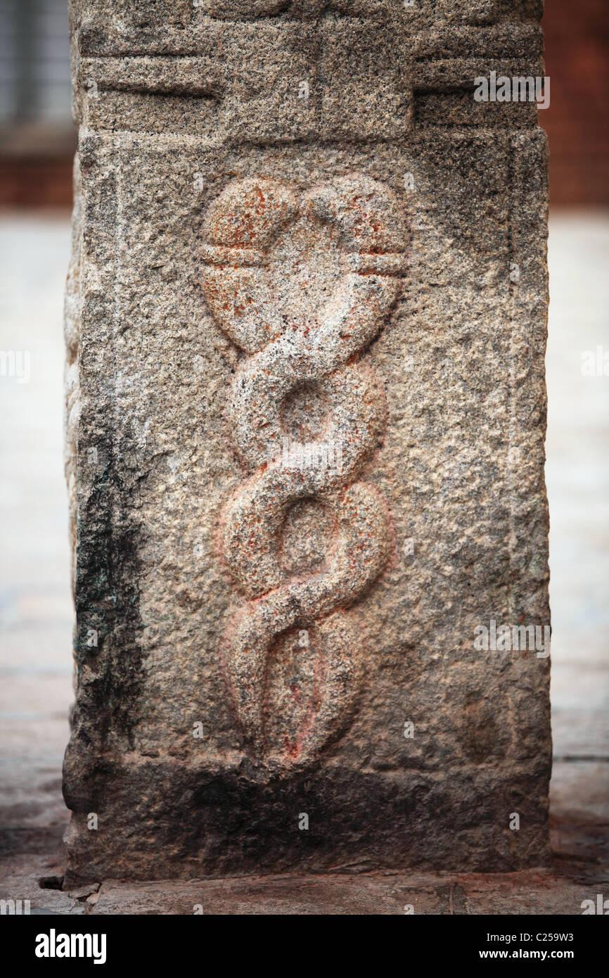 Kundalini snakes like the caduceus South India - Stock Image