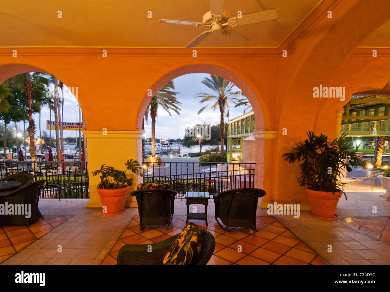 Exterior veranda of The Renaissance Vinoy luxury resort and marina in downtown St. Petersburg, Florida - Stock Image
