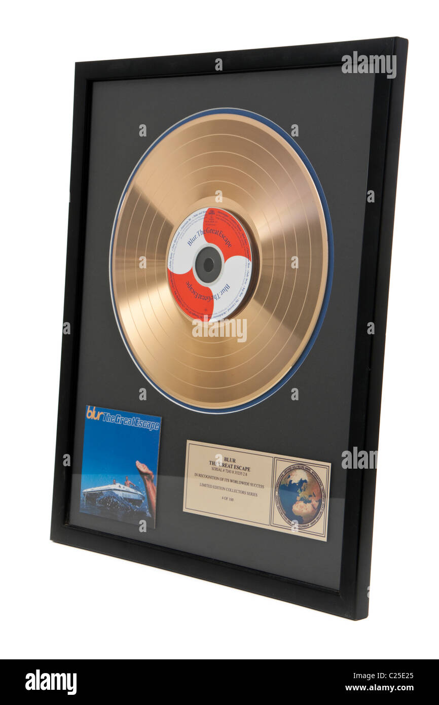 Blur 1995 Gold Disc 'The Great Escape' - Stock Image