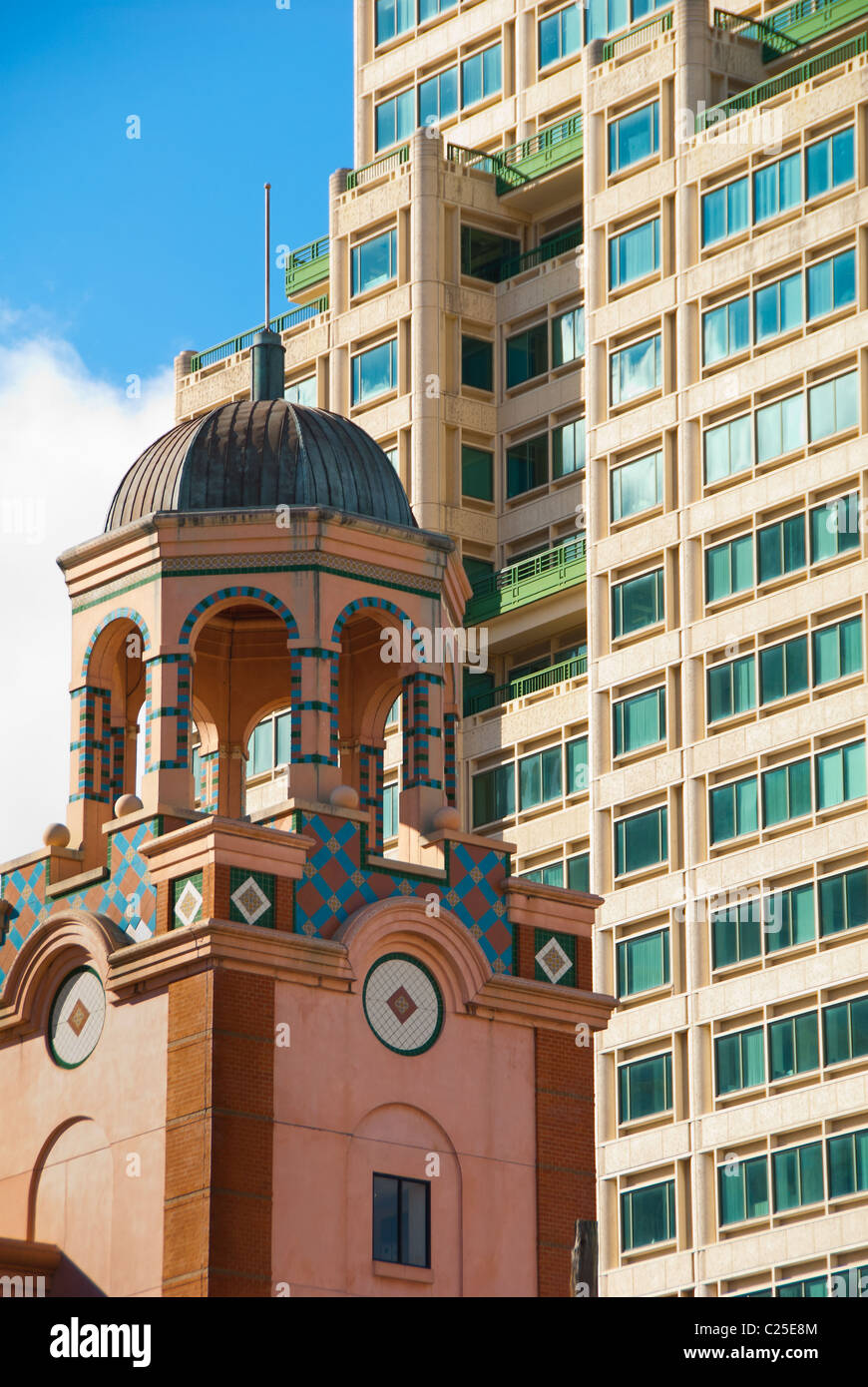 architecturally diverse buildings in downtown St. Petersburg, Florida - Stock Image