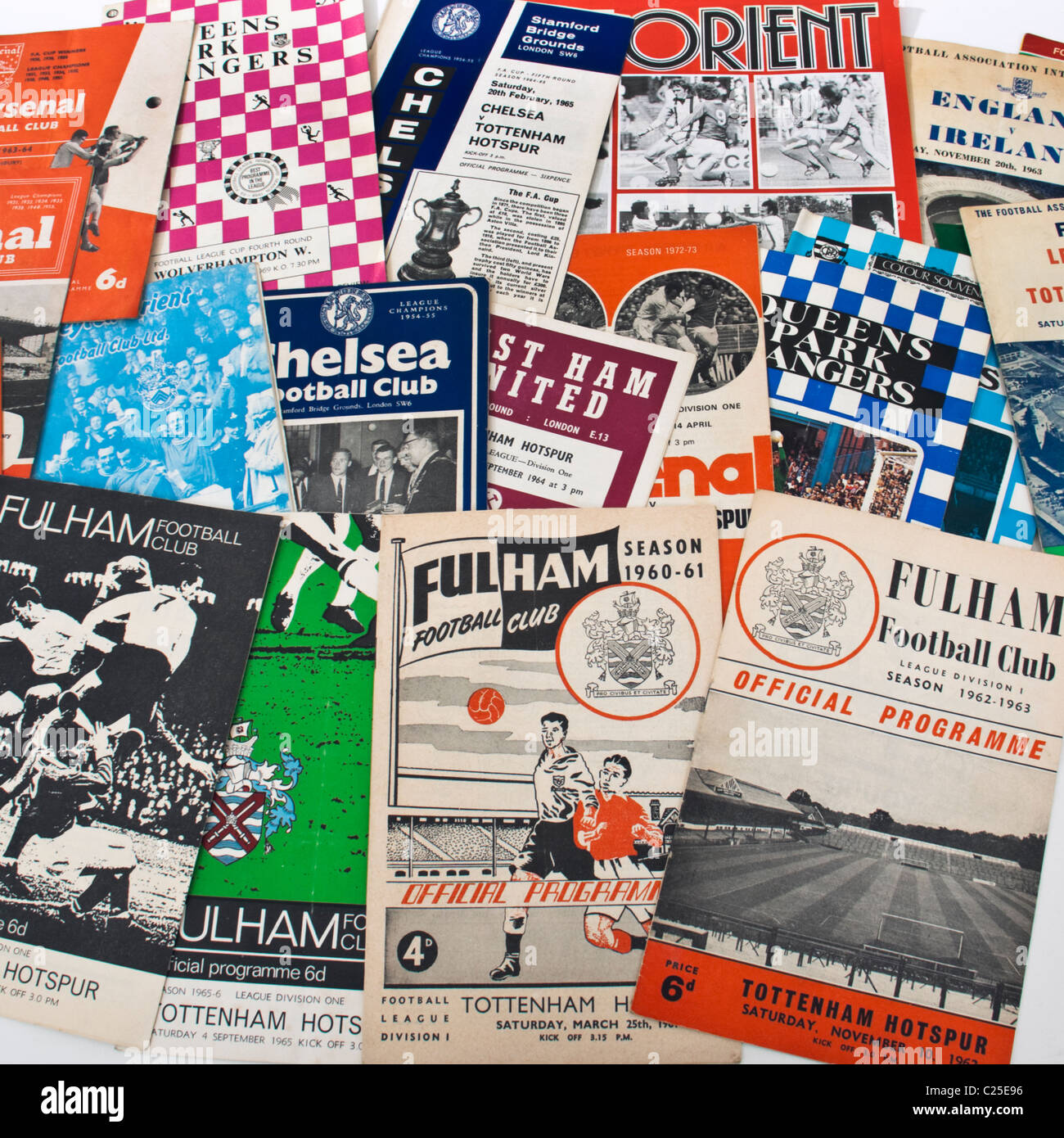 Collection of 1960's UK football programmes - Stock Image