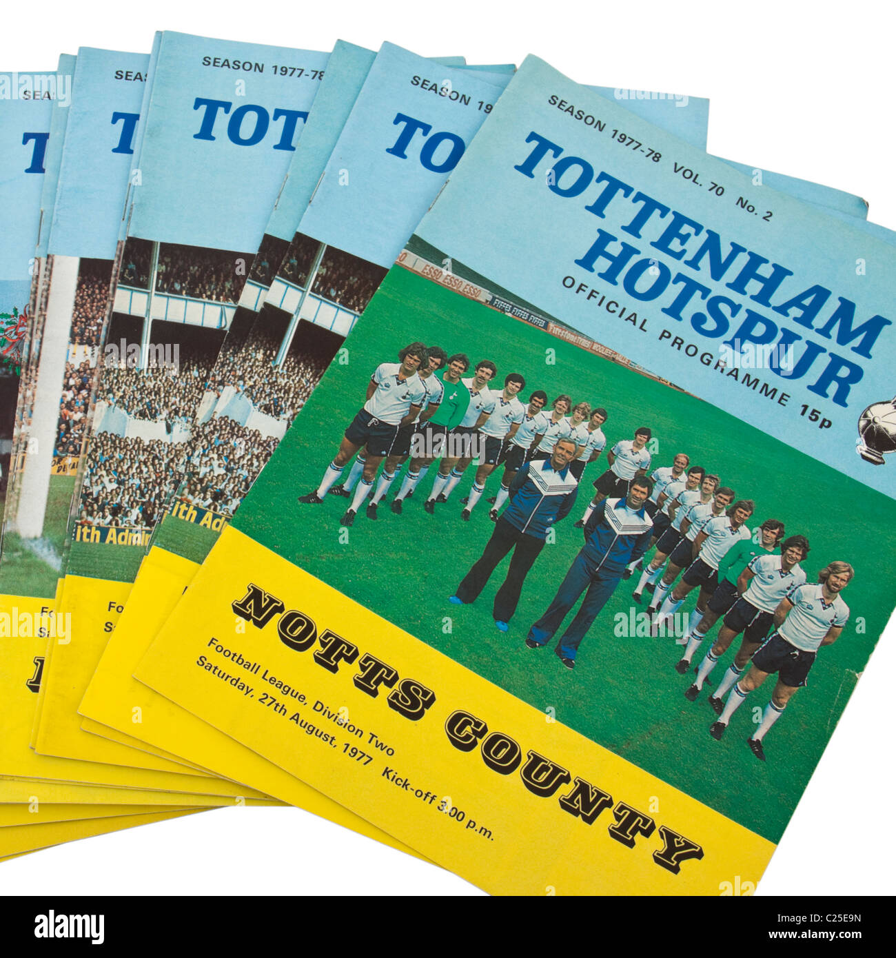 Collection of 1970's Tottenham Hotspur football / soccer match programmes - Stock Image