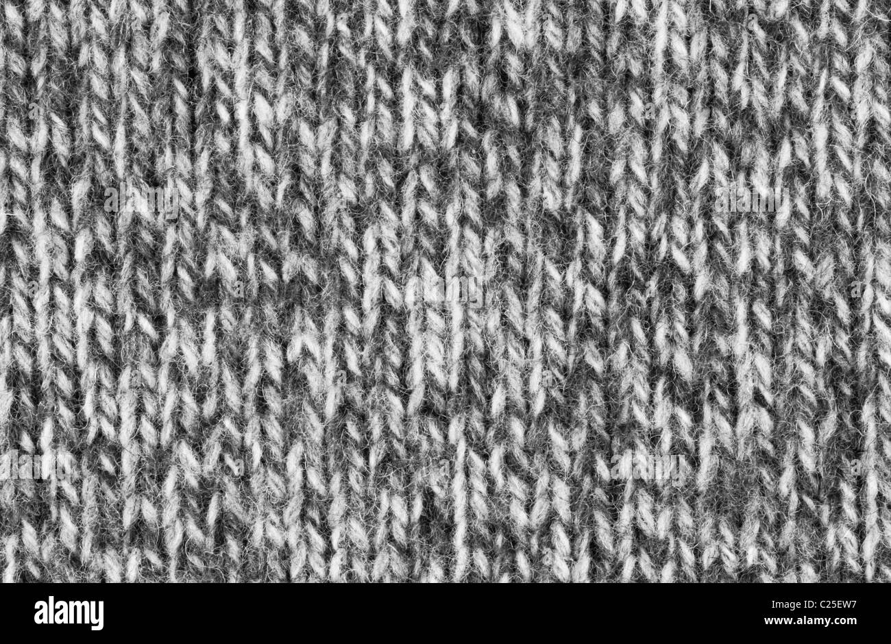 Black and white woven wool texture - Stock Image