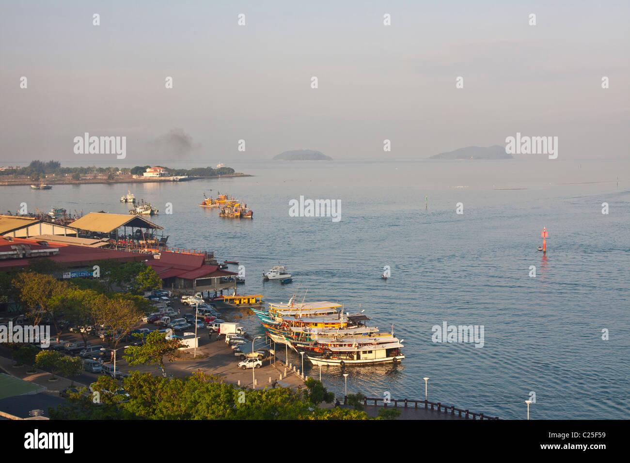 Kota Kinabalu Harbour at Dawn, Sabah, Borneo, Malaysia - Stock Image
