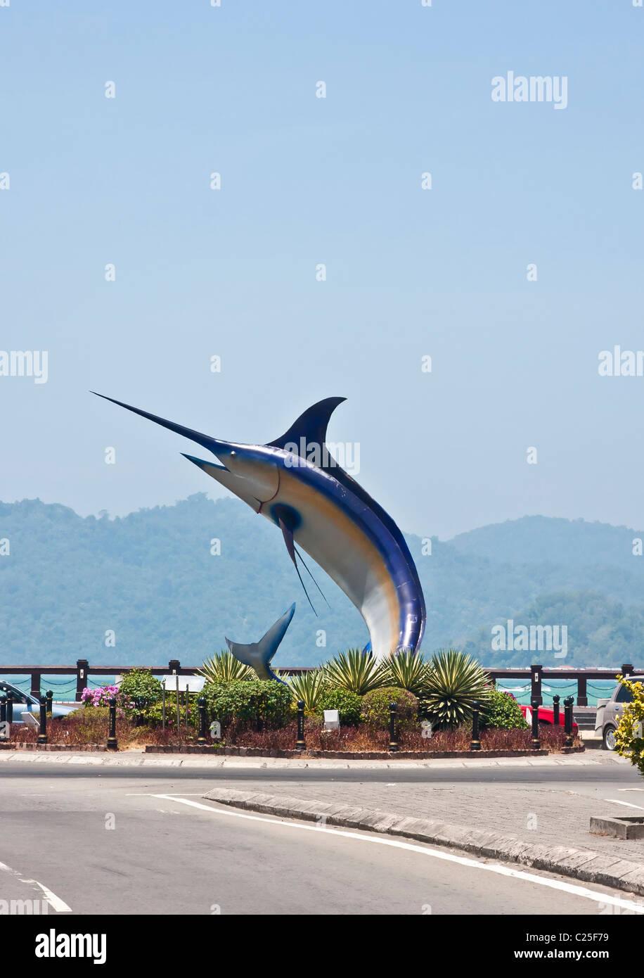 Marlin Statue in Kota Kinabalu, Sabah, Borneo, Malaysia - Stock Image