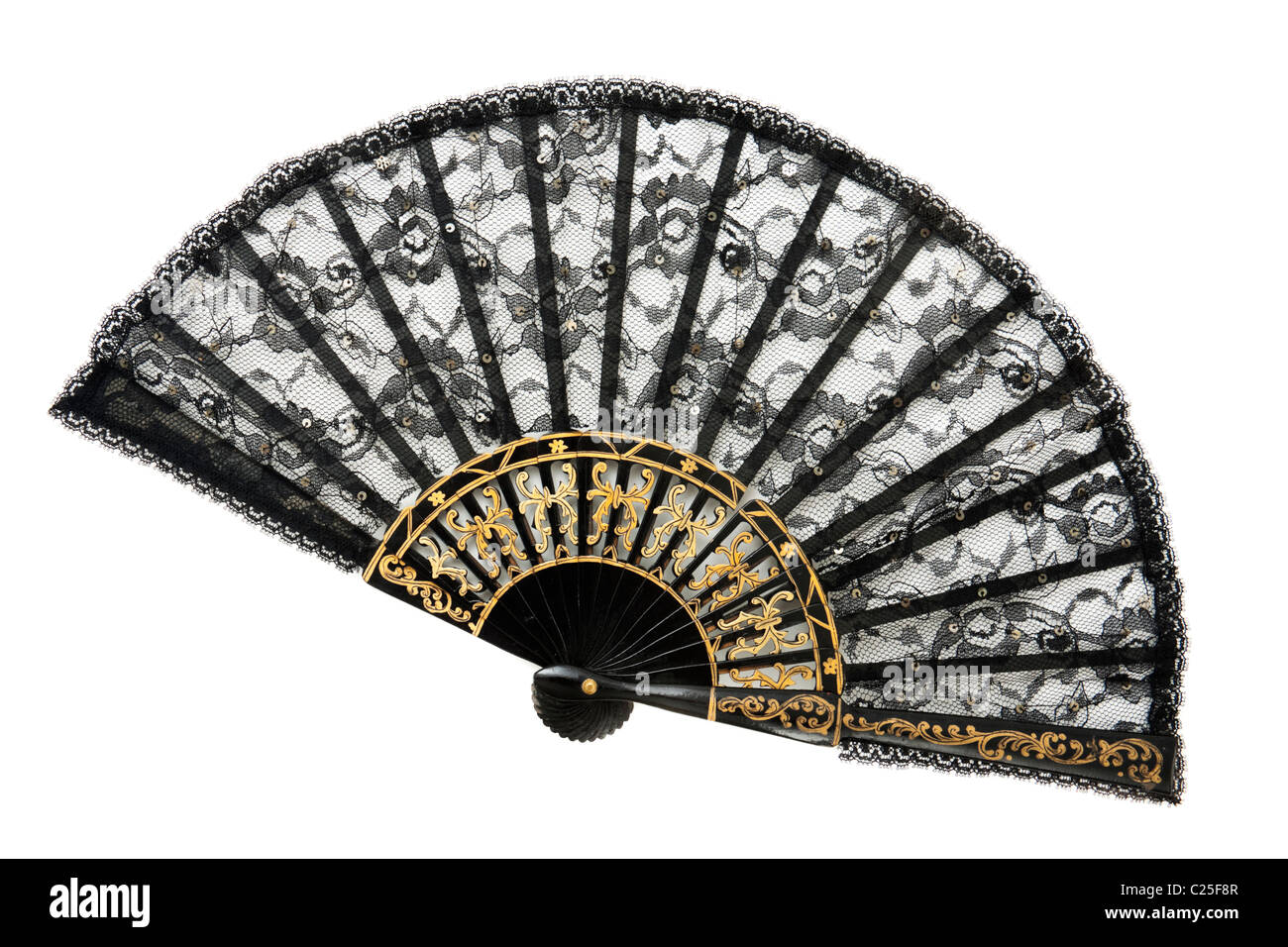 Antique Victorian wood & black lace ladies fan with gold decoration - Stock Image