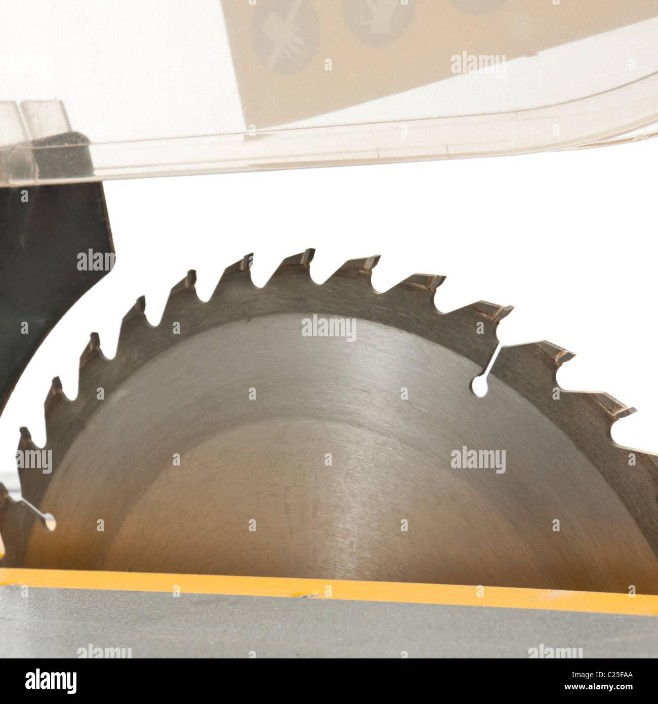 Close-up of circular saw blade - Stock Image