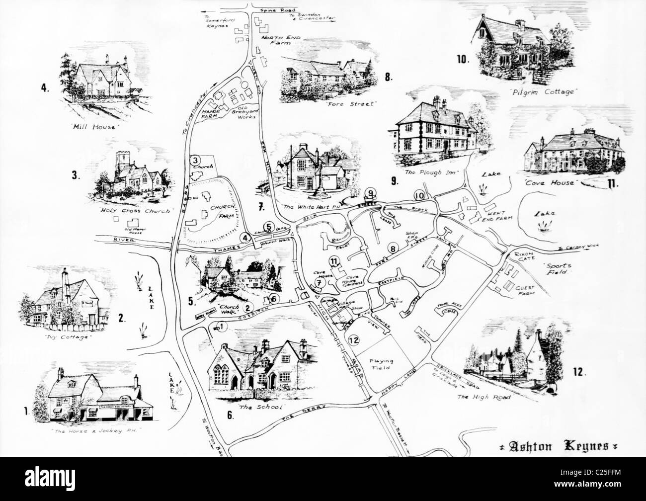1989 map of the village of Ashton Keynes in the Cotswolds, Gloucestershire, UK - Stock Image
