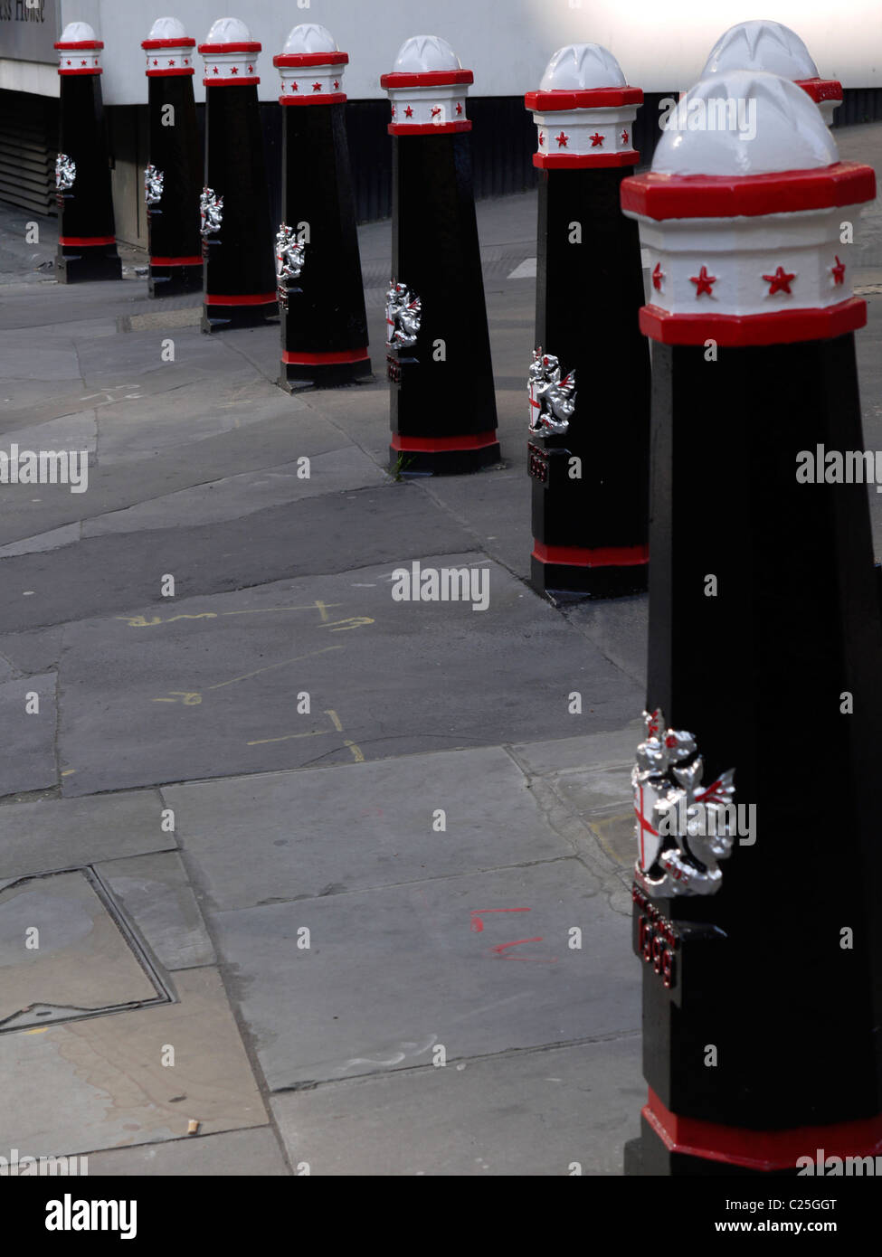 City of london Bollards mark the boundary of the city of london square mile - Stock Image