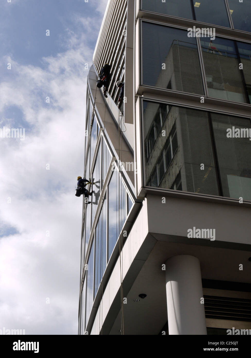 moor house moorhouse moorgate being cleaned by window cleaners London UK - Stock Image