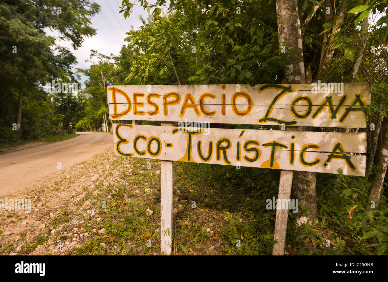 REMATE, GUATEMALA - Hand written sign for Slow Zone and ecotourism. - Stock Image