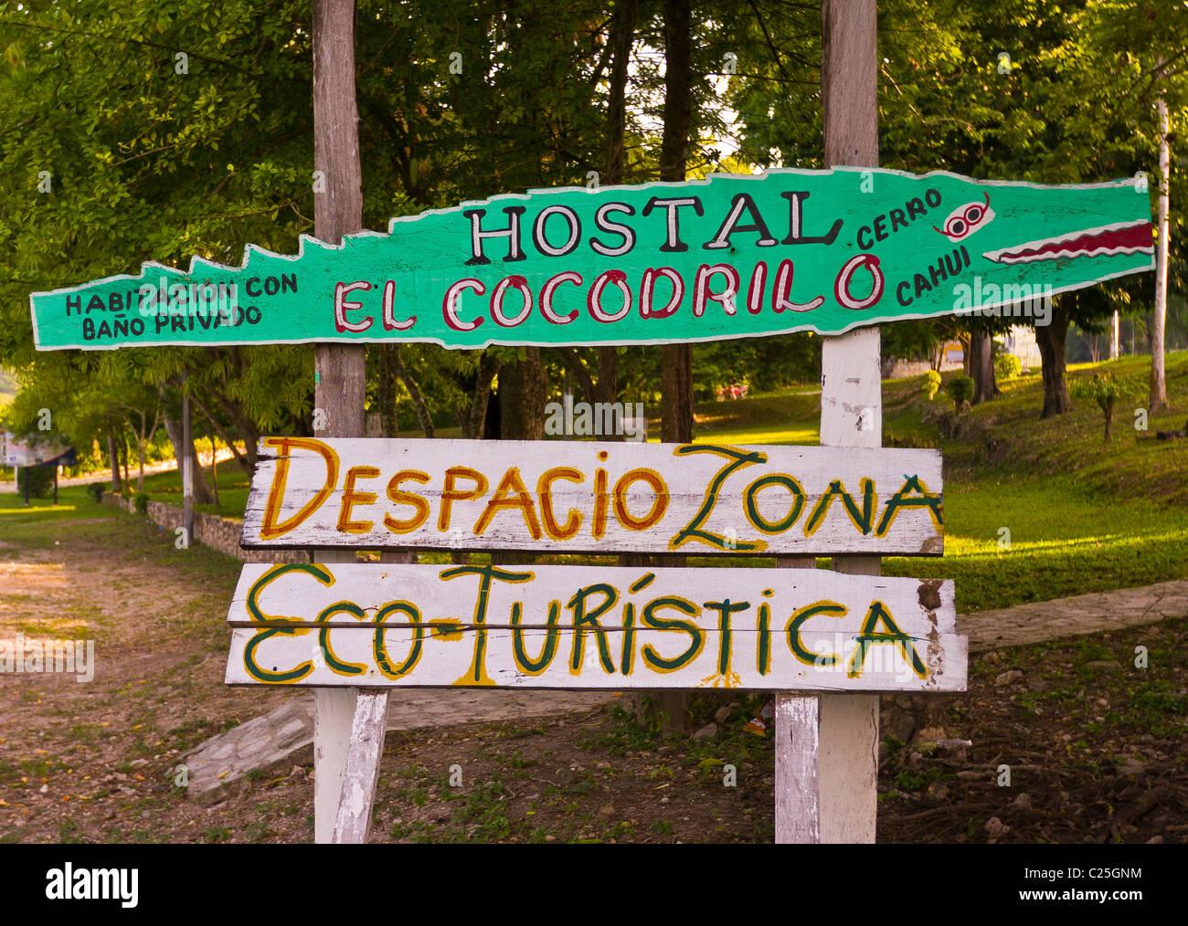 REMATE, GUATEMALA -  sign ecotourism. - Stock Image