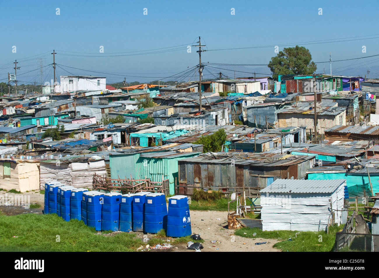 Public toilets in Khayelitsha township in Cape Town South Africa - Stock Image