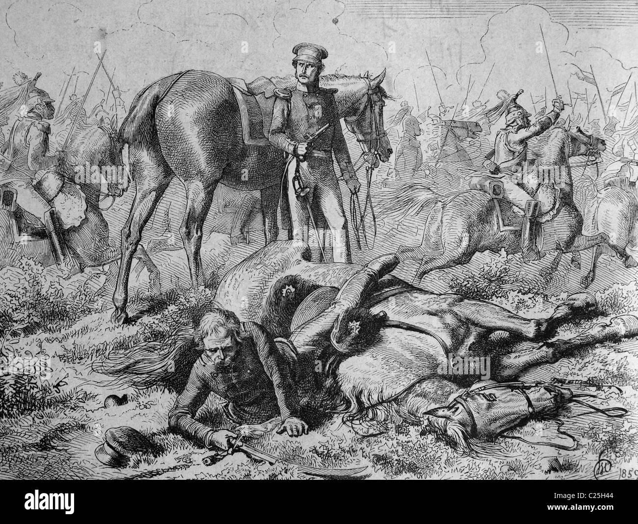 Gebhard Leberecht von Bluecher's fall at the battle of Ligny, 1815, historic illustration, 1877 - Stock Image