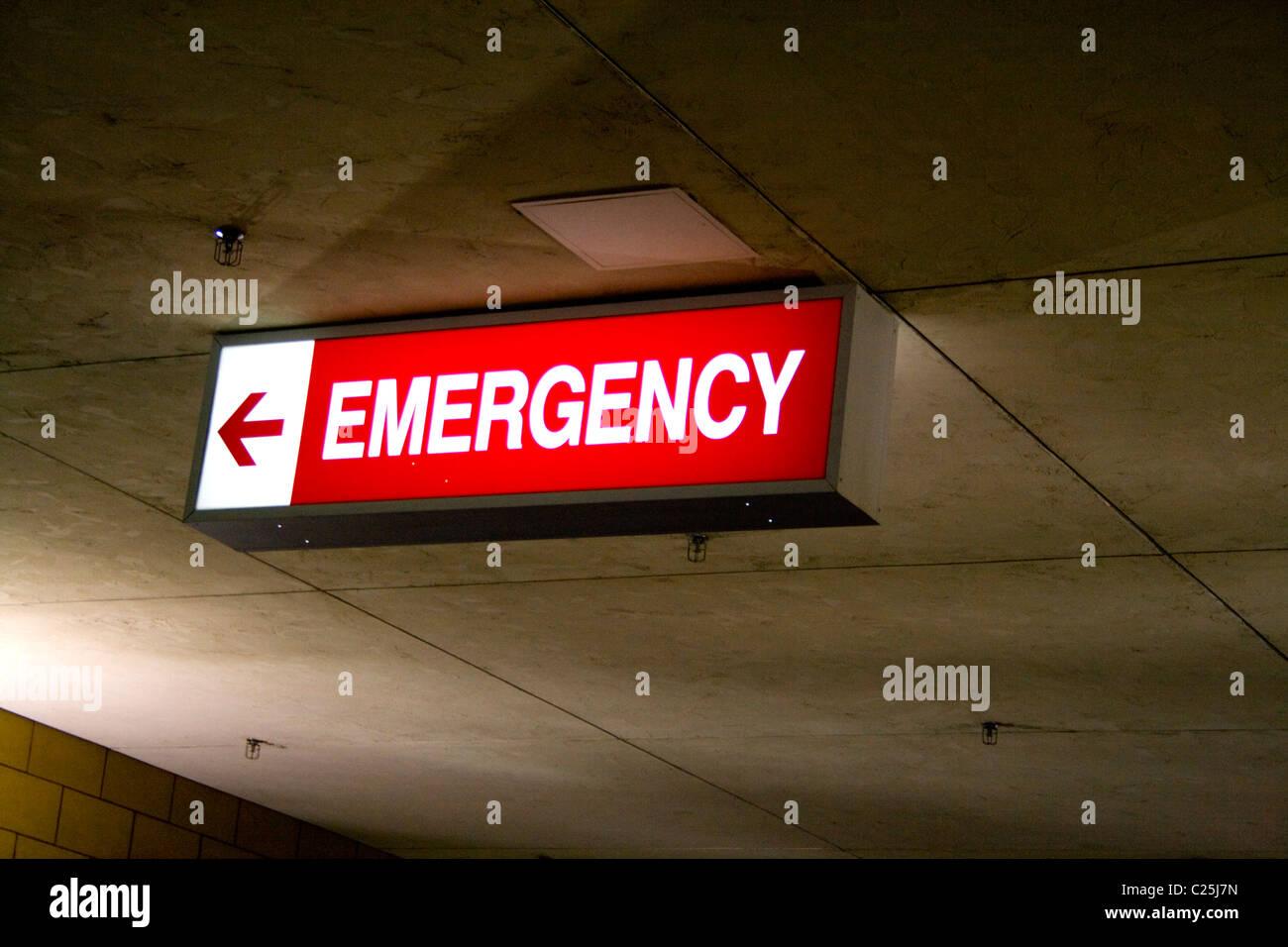 Directional Emergency Sign With Arrow Abbott Northwestern Hospital Minneapolis Minnesota MN USA