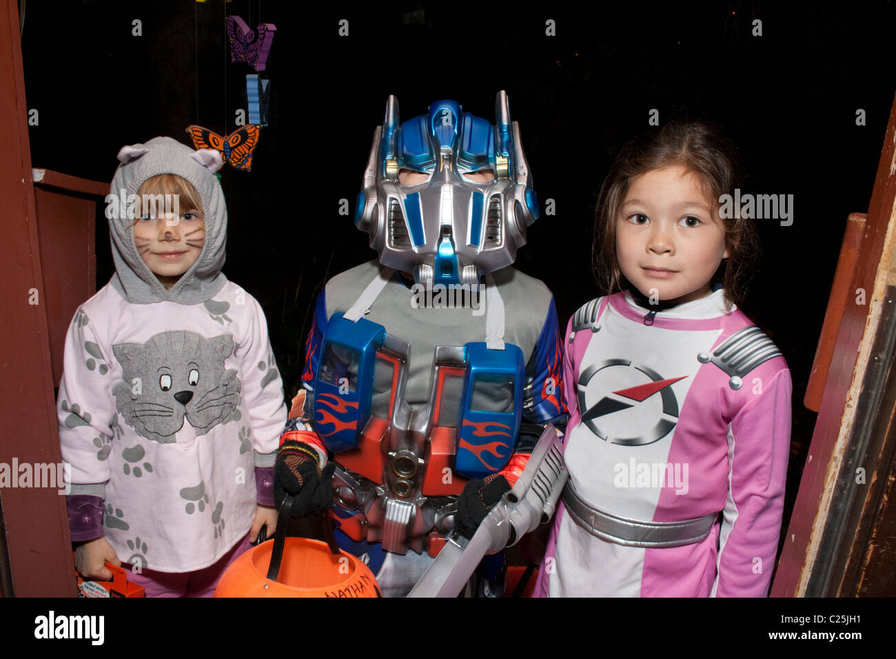 Outer space Halloween tricks or treaters. St Paul Minnesota MN USA - Stock Image
