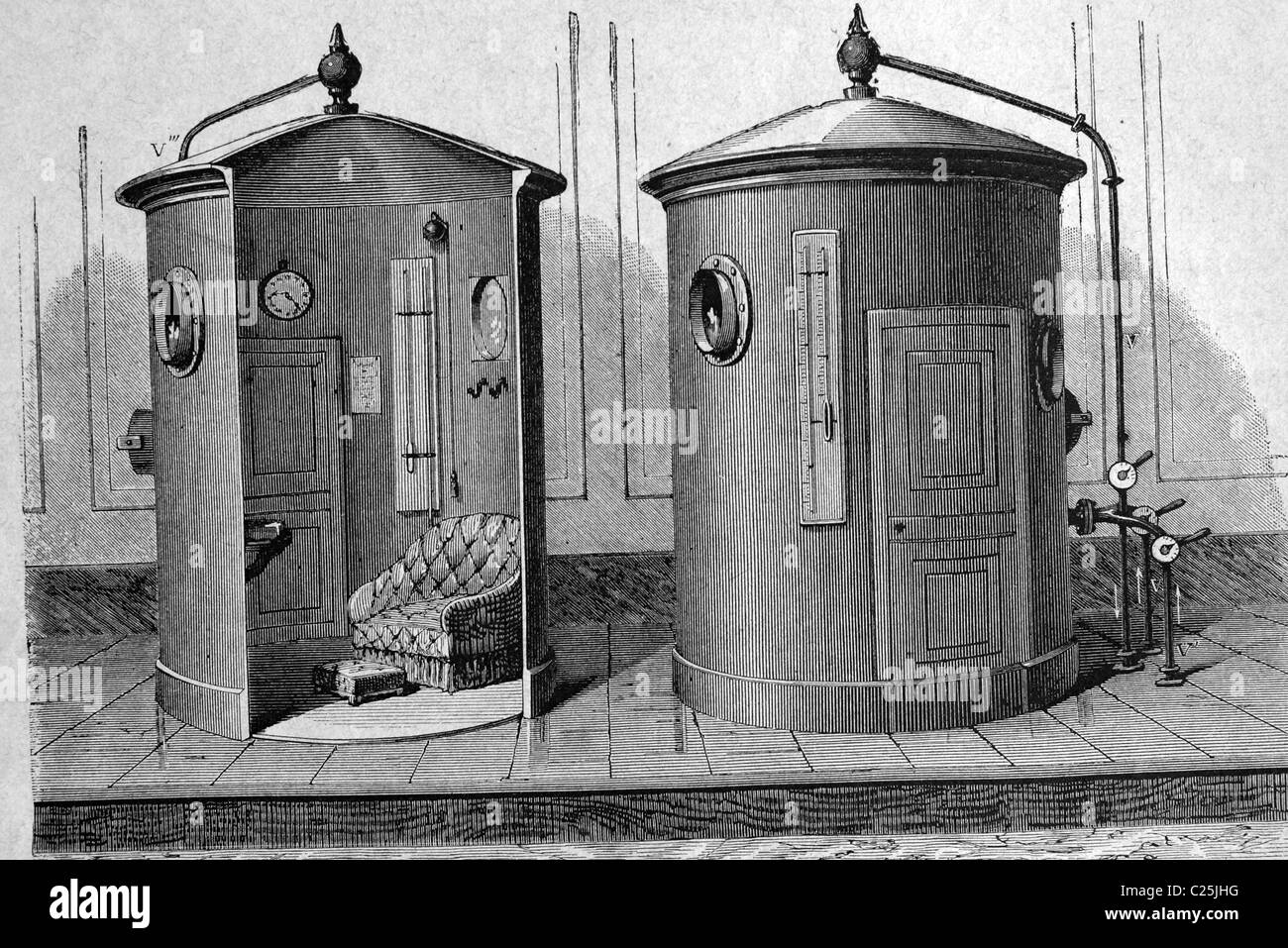 Apparatus for the inhalation of compressed air, historical illustration, 1877 - Stock Image