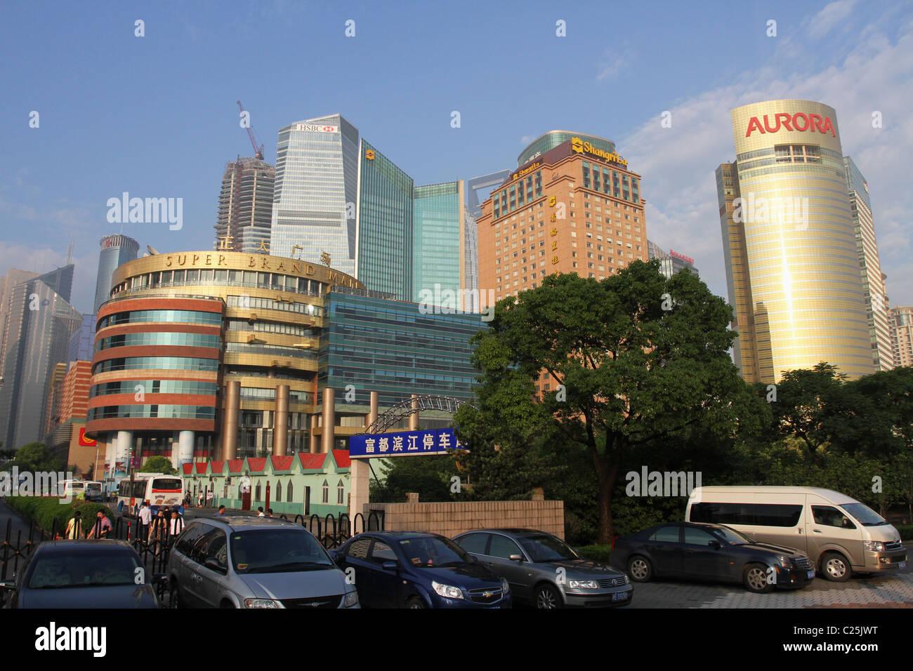 Street View. Pudong, Shanghai, China. Super Brand Mall, HSBC, Shangri-La, Aurora, buildings visible. - Stock Image