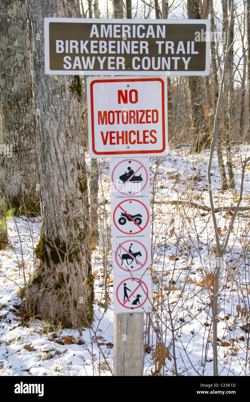 No motorized vehicles sign on the American Birkebeiner Trail. Cable Wisconsin WI USA - Stock Image