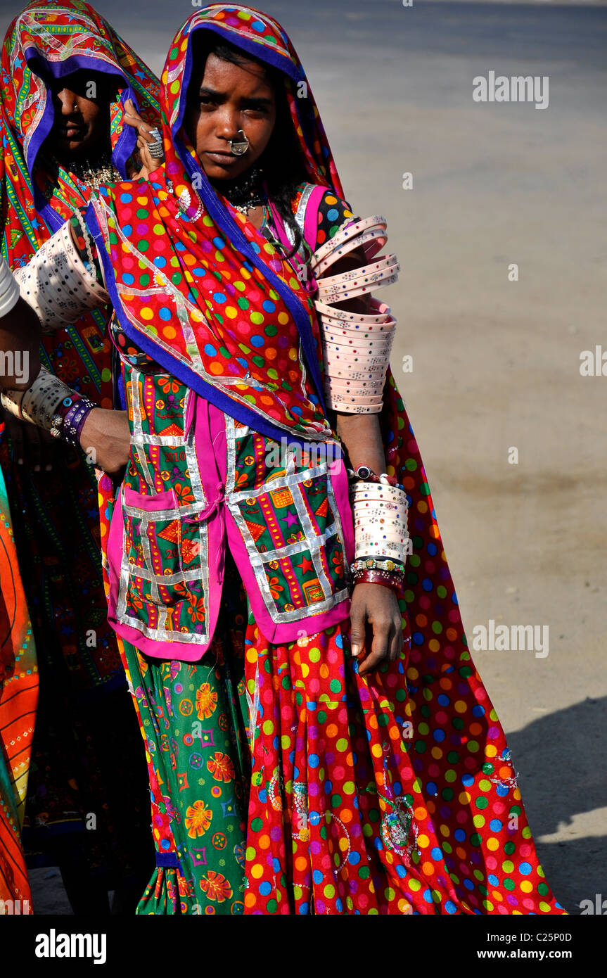 women from kutch of gujarat in traditional dresses stock