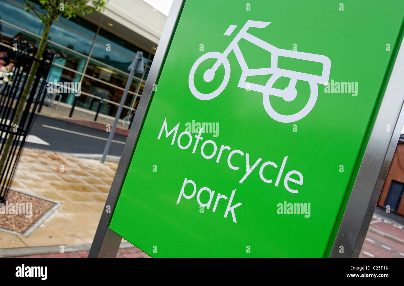 Motorcycle park sign at Waitrose in Poynton near Stockport, Greater Manchester. - Stock Image