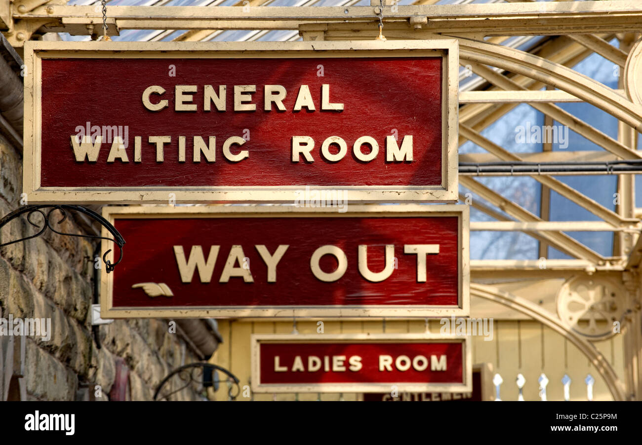 Old signs on the platform at Ramsbottom Station on the East Lancs Railway - Stock Image