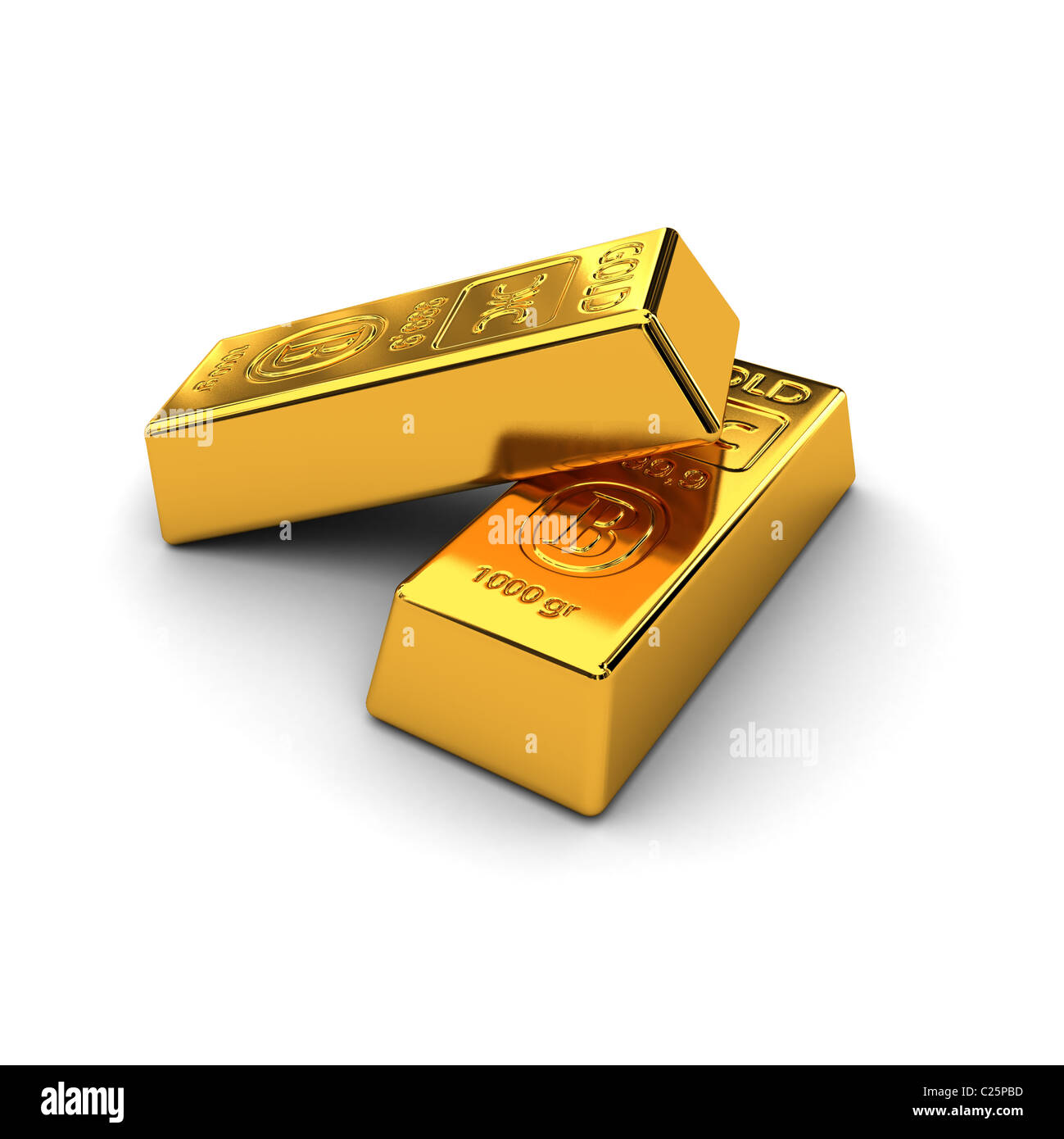 Two gold bars - Stock Image