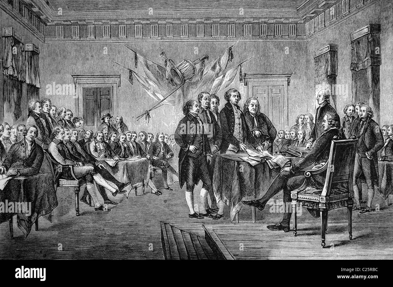 Signing of the Declaration of Independence of the United States of North America in 1776, the U.S., historical illustration, - Stock Image
