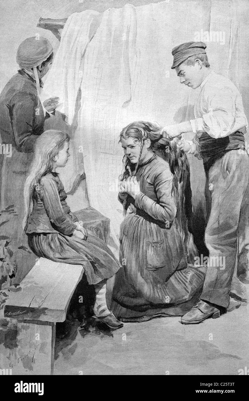 Hair buyer in France, historical illustration circa 1893 - Stock Image