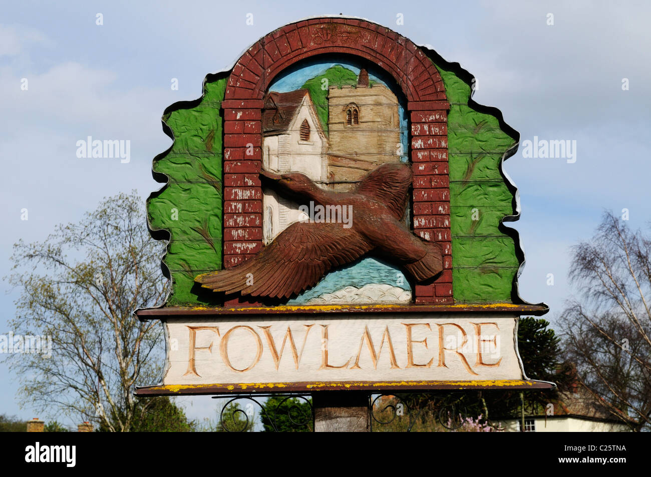 Fowlmere Village Sign, Cambridgeshire, England, UK - Stock Image