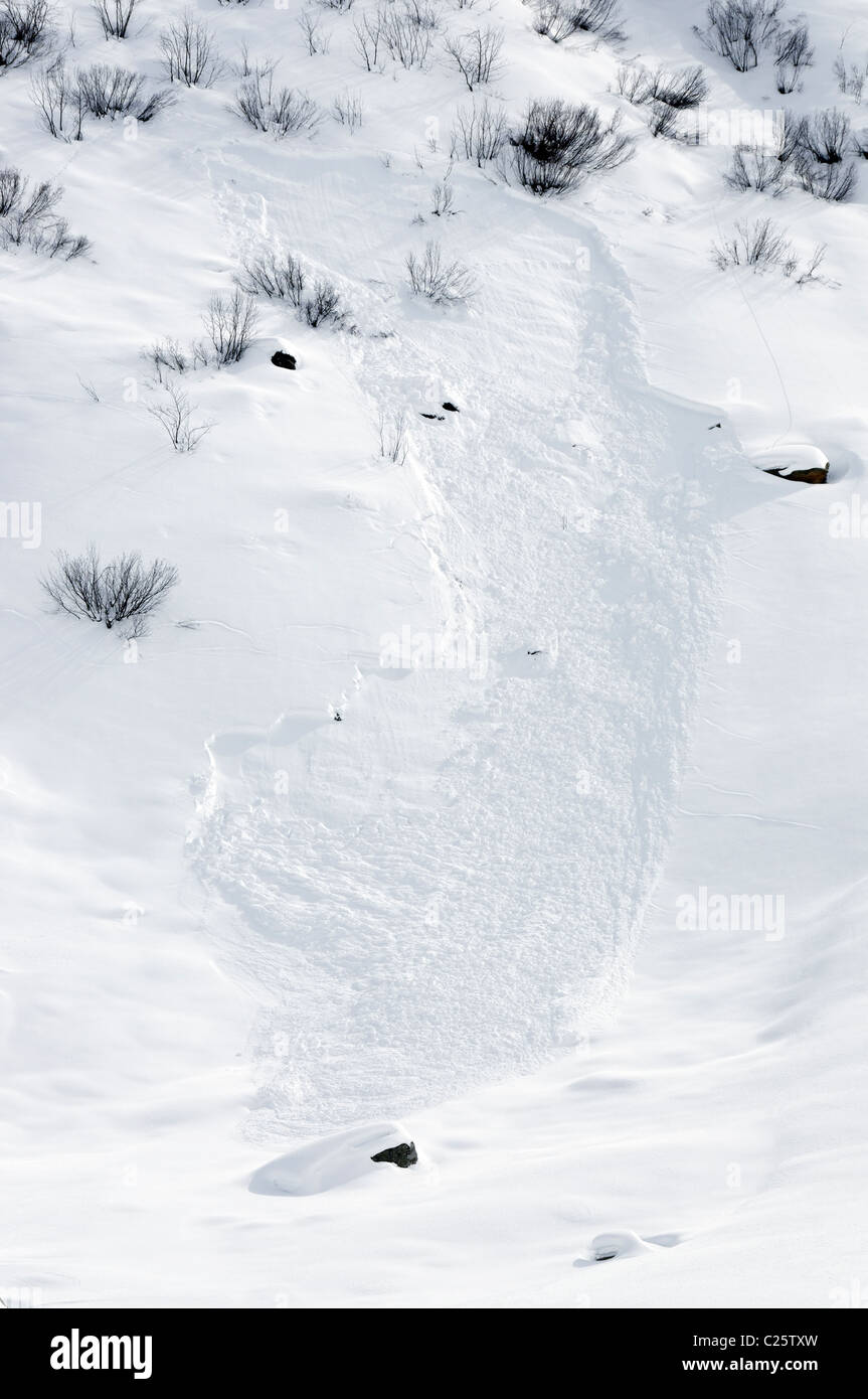 Windslab avalanche debris in the Silvretta region of Austria Stock Photo