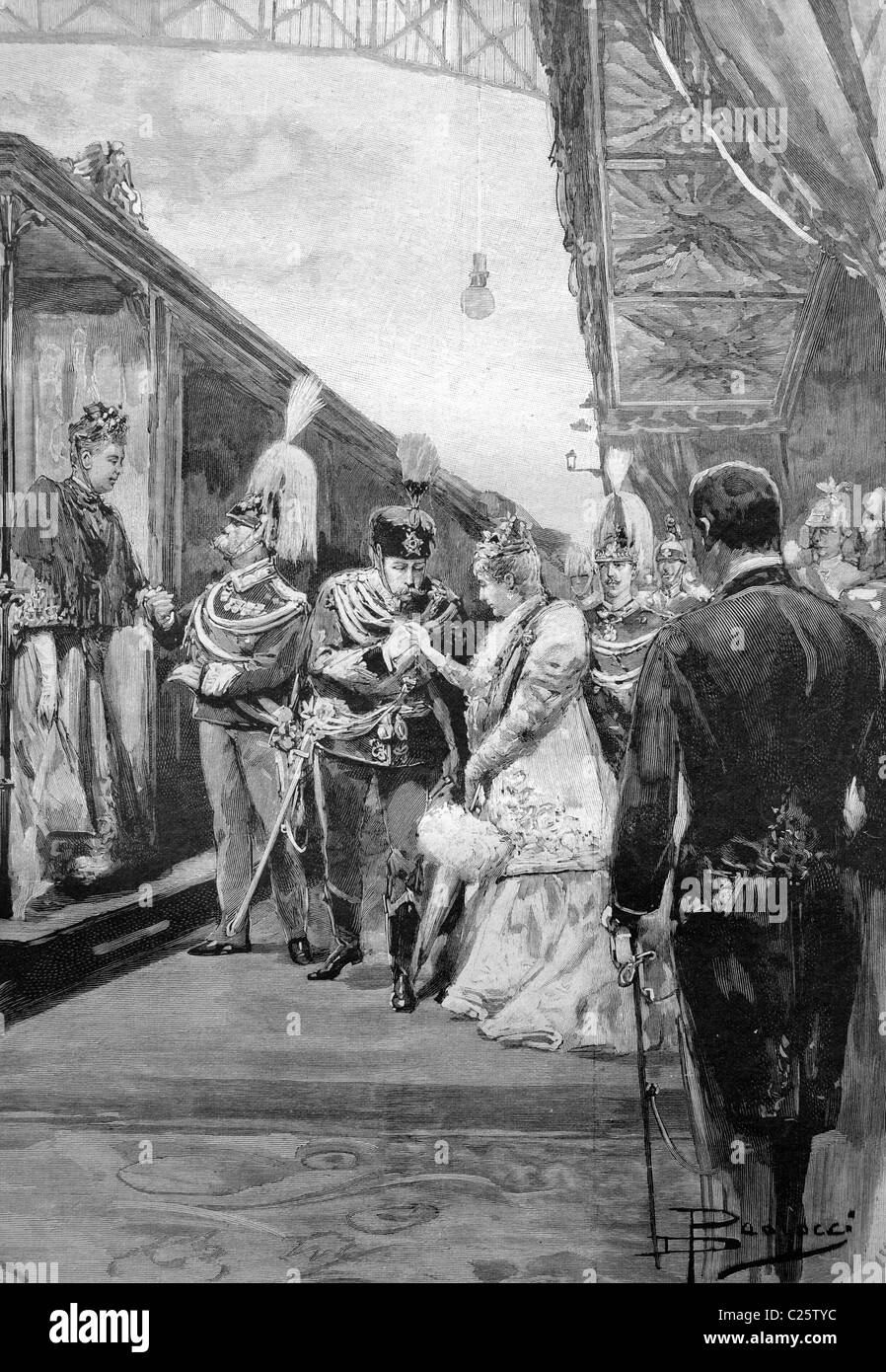 Visit of the German Emperor and Empress of Rome, reception at the station, historical illustration circa 1893 - Stock Image
