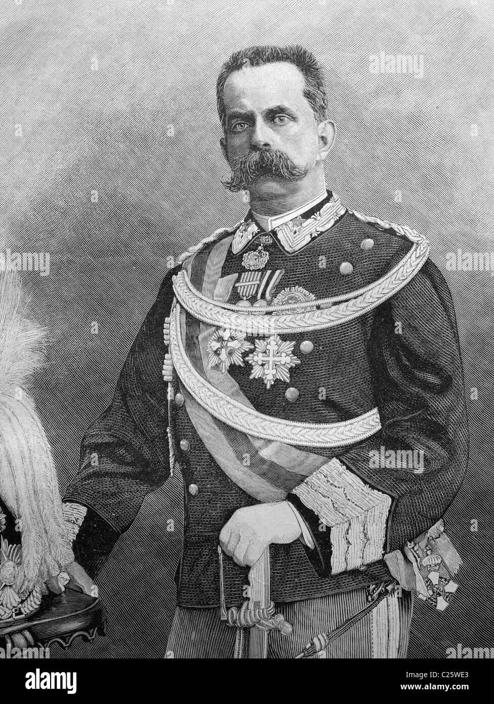 Umberto I, King of Italy, historical illustration circa 1893 - Stock Image
