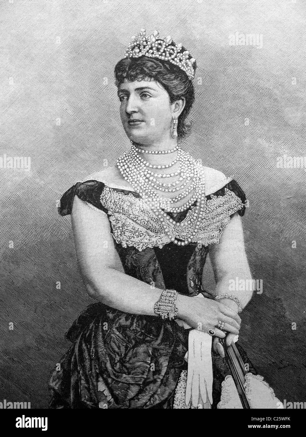 Margherita of Savoy, Queen of Italy, historical illustration circa 1893 - Stock Image
