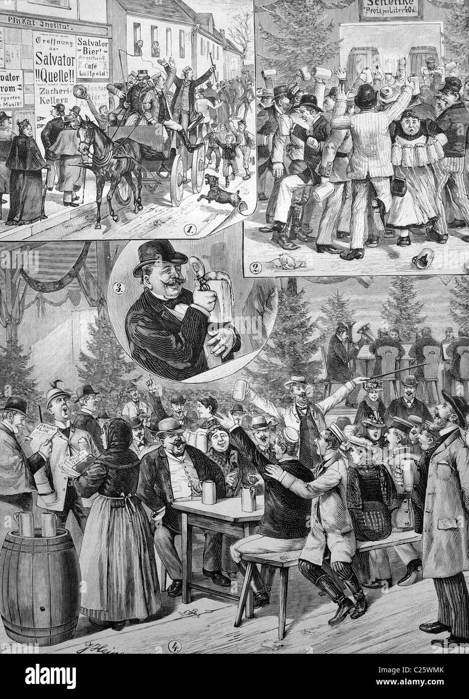 The Salvator beer bar in Munich, Bavaria, Germany, historical illustration circa 1893 - Stock Image