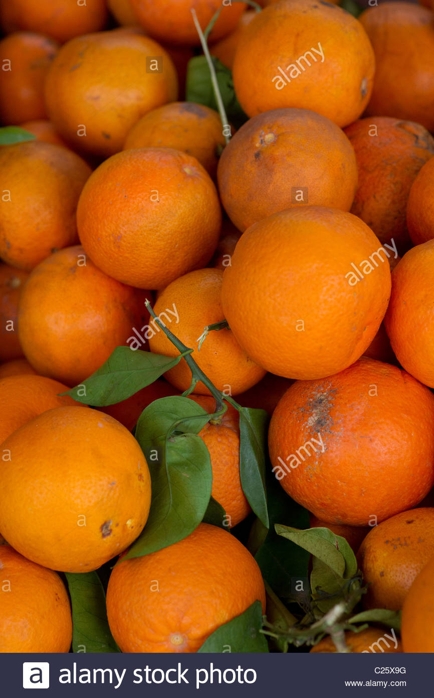 Fresh fruits for sale in market - Greece Stock Photo
