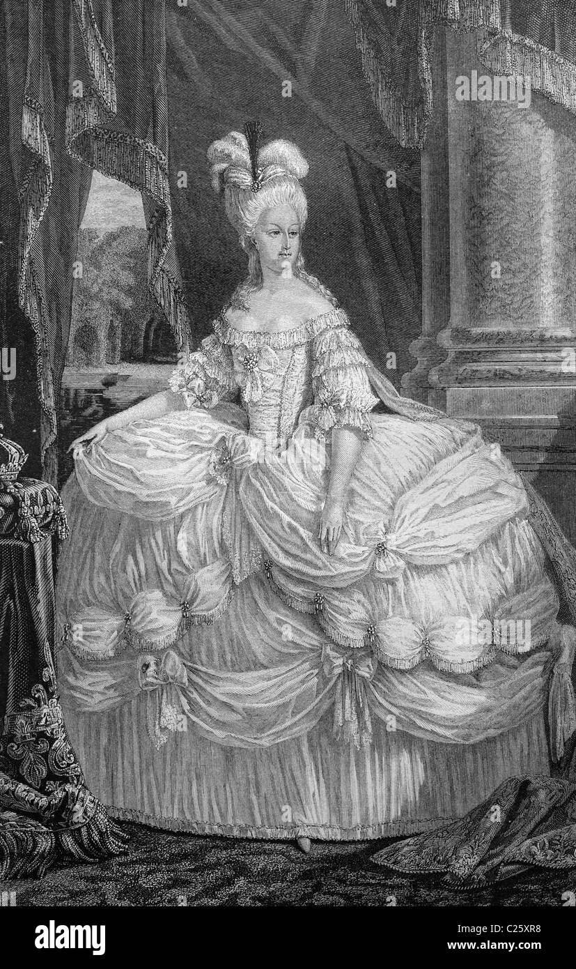 Queen Marie Antoinette of France, historical illustration circa 1893 - Stock Image