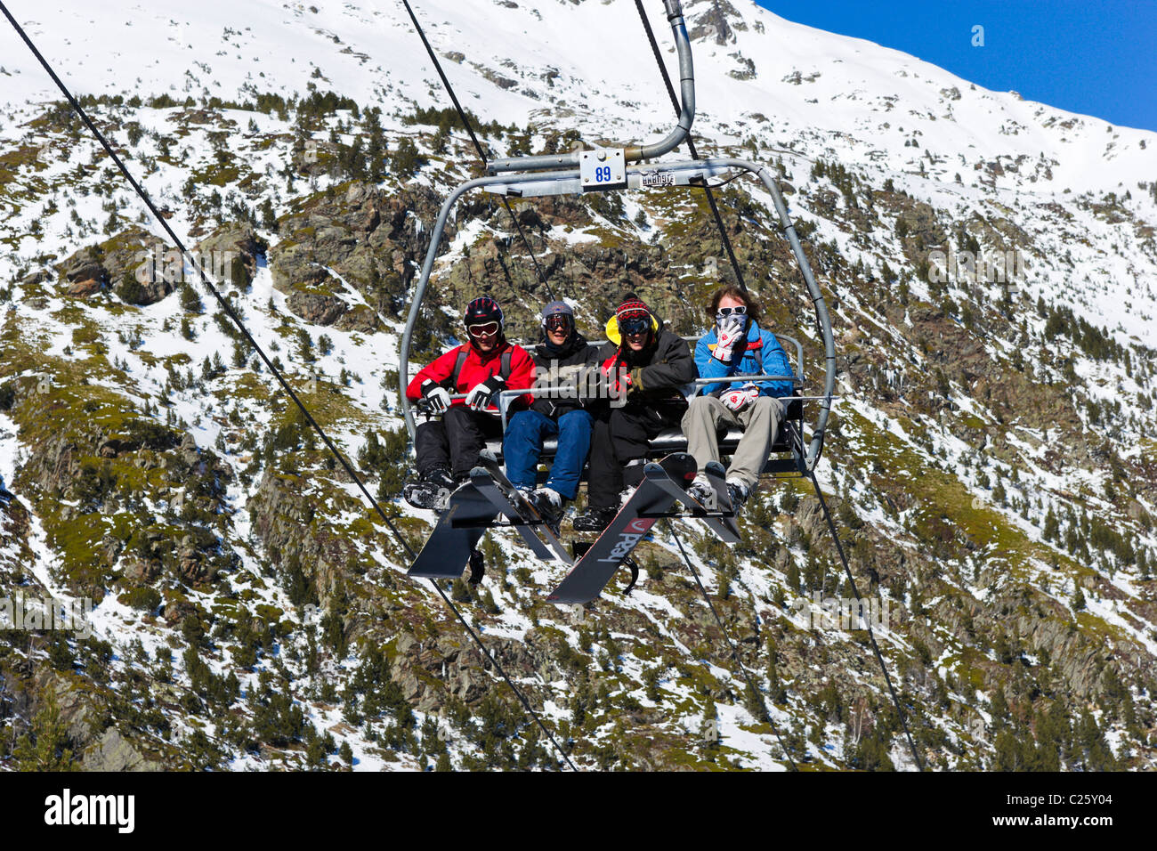 Chair lift in Arcalis, Vallnord Ski Area, Andorra - Stock Image