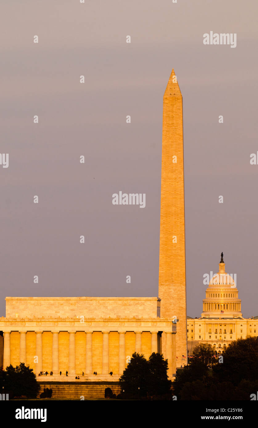 view of famous monuments along washington dc s national mall lit up