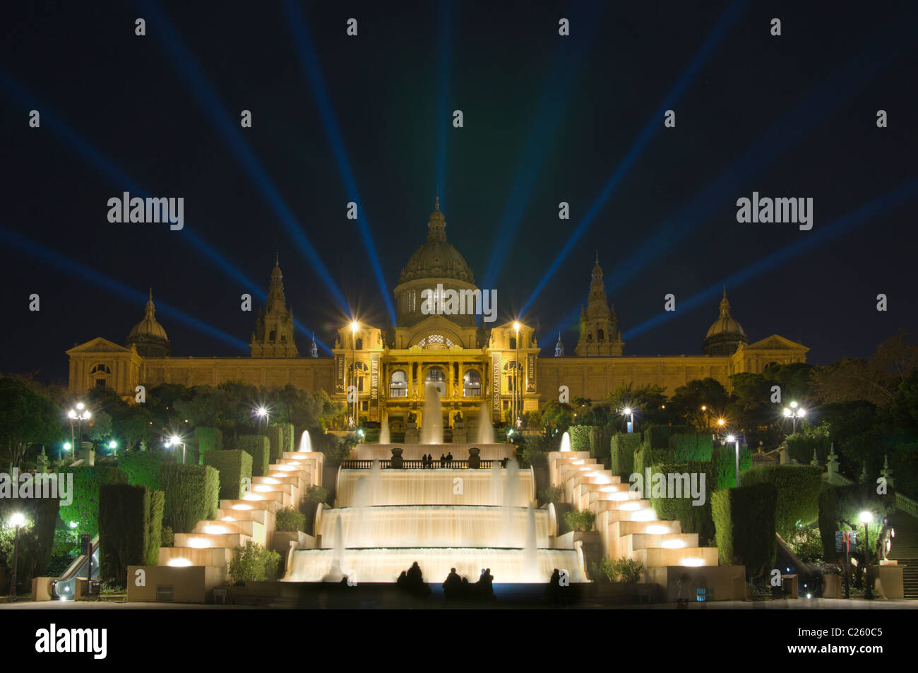 Magic fountain and Palace of Montjuic, Barcelona, Catalonia, Spain - Stock Image