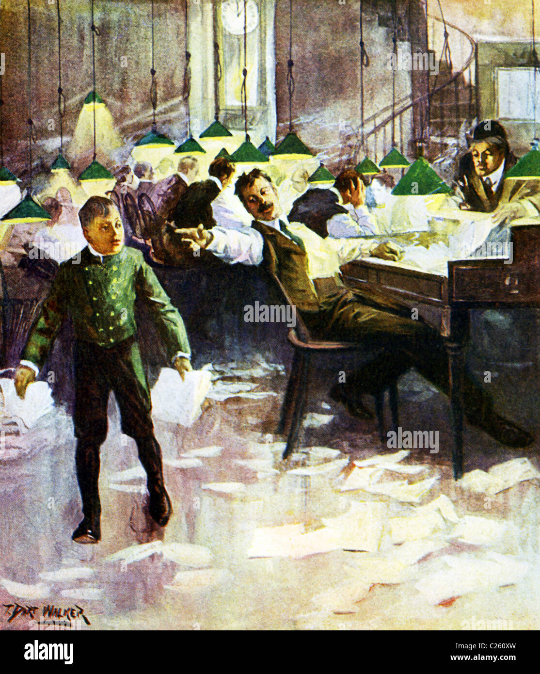 This 1903 illustration by T. Dart Walker shows the editorial room of a daily newspaper in the U.S. at the time. - Stock Image