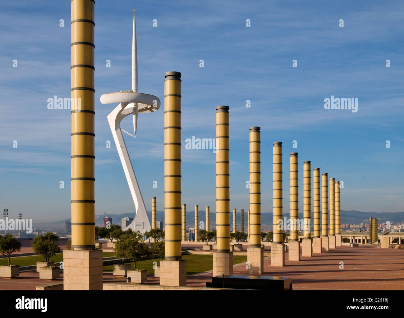 The Montjuic Communications Tower in Plaza de Europe, centre piece of the 1992 Olympics complex,Barcelona,Catalunya,Spain - Stock Image