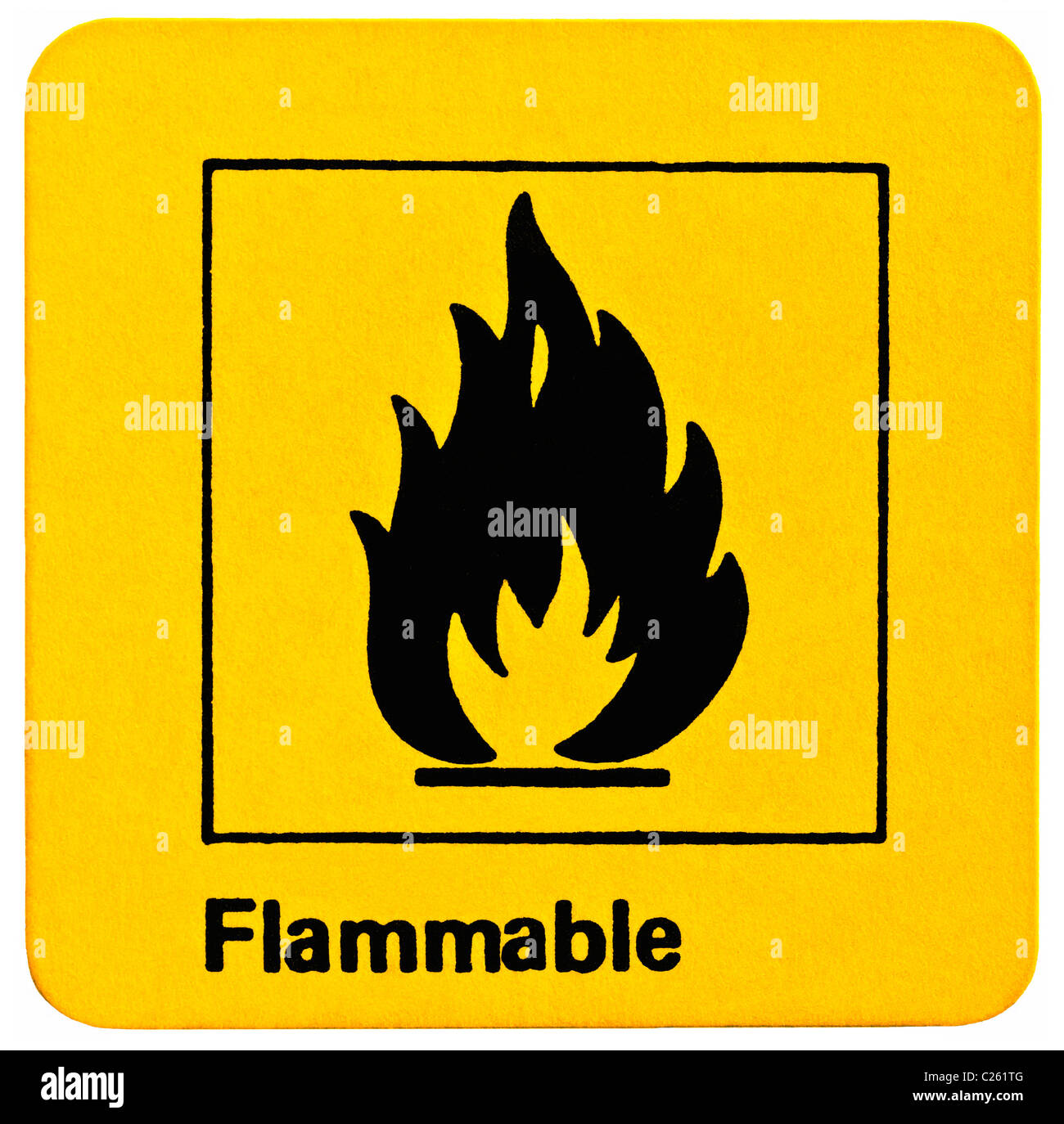 Self-adhesive sticker Flammable product warning. - Stock Image