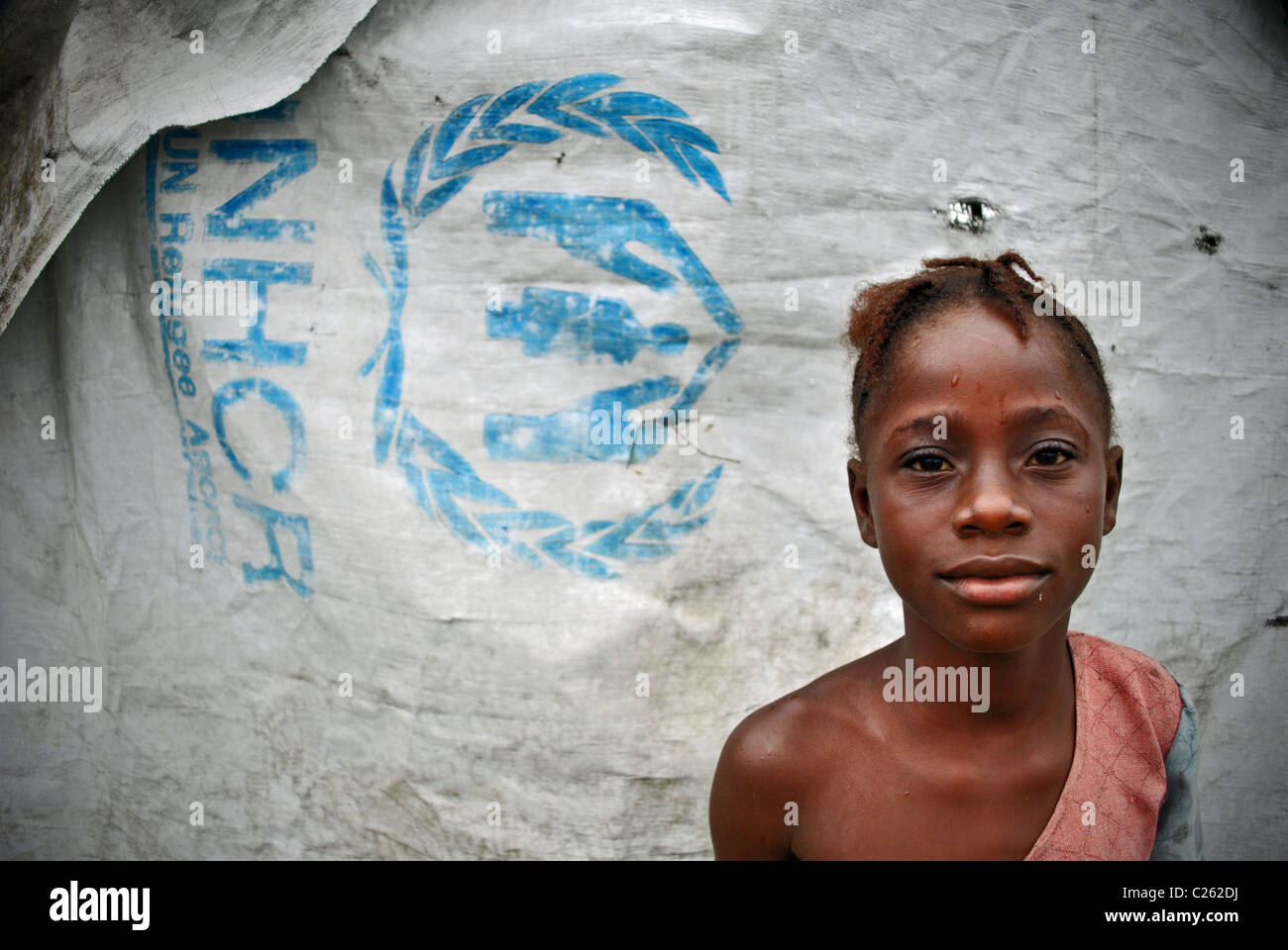 Liberian refugee girl in Tabou transit camp, Ivory Coast, West Africa - Stock Image